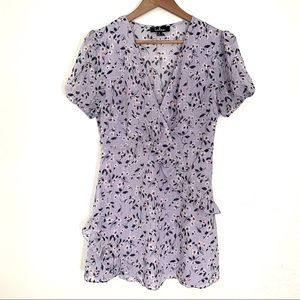 Lulus ruffled  floral print short sleeve blouse